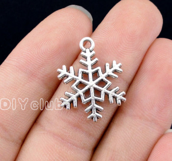 60pcs-Antique Gümüş Snowflake Charms 2 Taraflı 23x17mm